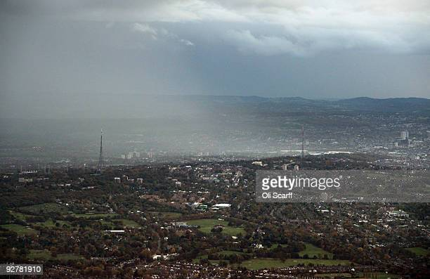 An aerial view of a rain shower sweeping across Crystal Palace in South London on November 4 2009 in London England The UK's capital city is home to...