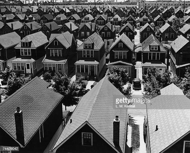 An aerial view of a suburban housing development in Rego Park Queens New York circa 1935