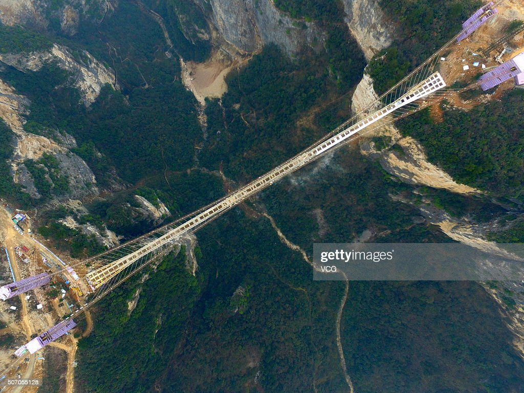 An aerial view of a suspension bridge approximately 300 metres above ground at The Grand Canyon of Zhangjiajie on January 27 2016 in Zhangjiajie...