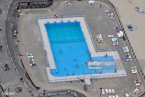 An aerial view of a Swimming pool in Koksijde Oostduinkerke taken from a helicopter on July 17 2013 in Belgium