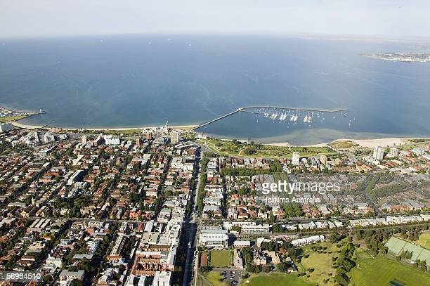 An aerial view of a the suburb of St Kilda as seen December 23 2005 in Melbourne Australia The St Kilda suburb will be the venue for the Triathlon...