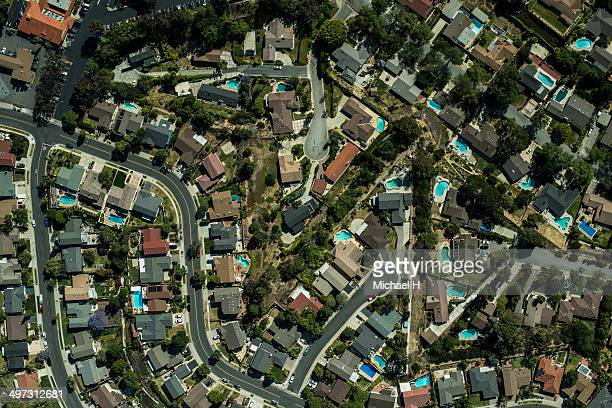 An aerial view of a typical suburban neighborhood
