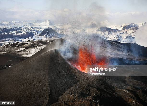 An aerial view of a volcanic eruption between the Myrdalsjokull and Eyjafjallajokull glaciers on March 24 2010 in Fimmvorduhals Iceland A major...
