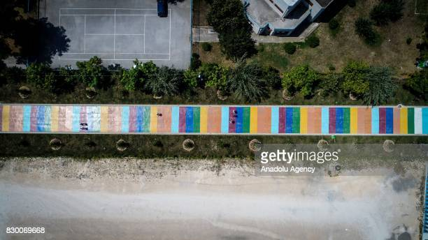 An aerial view of a way named 'The path of love' made up with red orange green yellow blue and purple colours last year at Cumhuriyet street in Bursa...