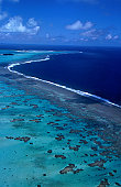An aerial view of Aitutaki Lagoon.
