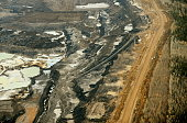 An aerial view of an oil sands mine near the town of Fort McMurray in Alberta Province Canada on October 23 2009 Greenpeace is calling for an end to...