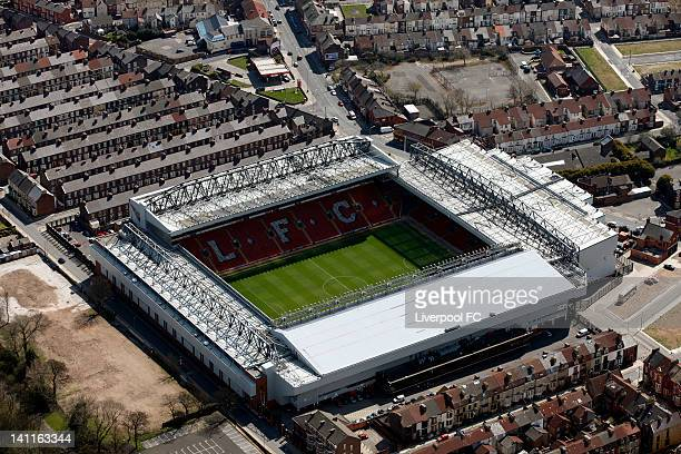 An aerial view of Anfield Stadium on April 17 2008 in Liverpool England