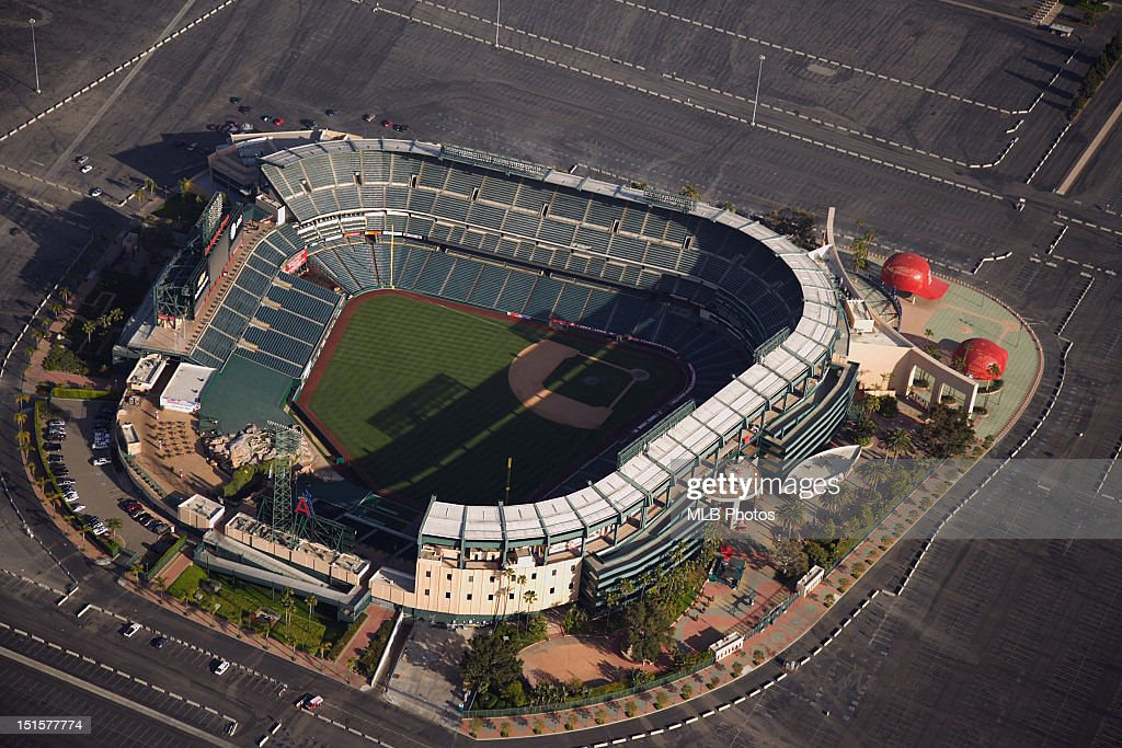 An aerial view of Angel Stadium is seen prior to a game between the Texas Rangers and the Los Angeles Angels of Anaheim on April 6, 2008 in Anaheim, California.