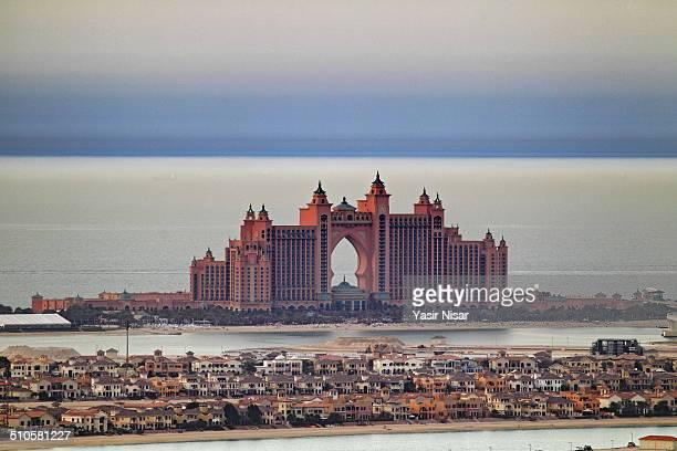 An aerial view of Atlantis the palm Dubai