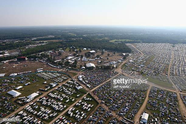 An aerial view of atmosphere during day 4 of the 2014 Bonnaroo Arts And Music Festival on June 15 2014 in Manchester Tennessee
