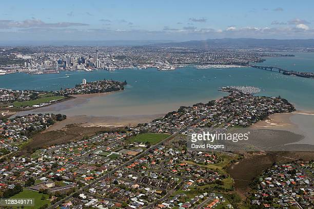 An aerial view of Auckland Harbour and the Sky Tower and the Harbour Bridge on October 7 2011 in Auckland New Zealand
