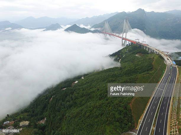 An aerial view of Beipanjiang Bridge across Beipanjiang valley on September 10 2016 in Shuicheng county Guizhou province China The cablestayed bridge...