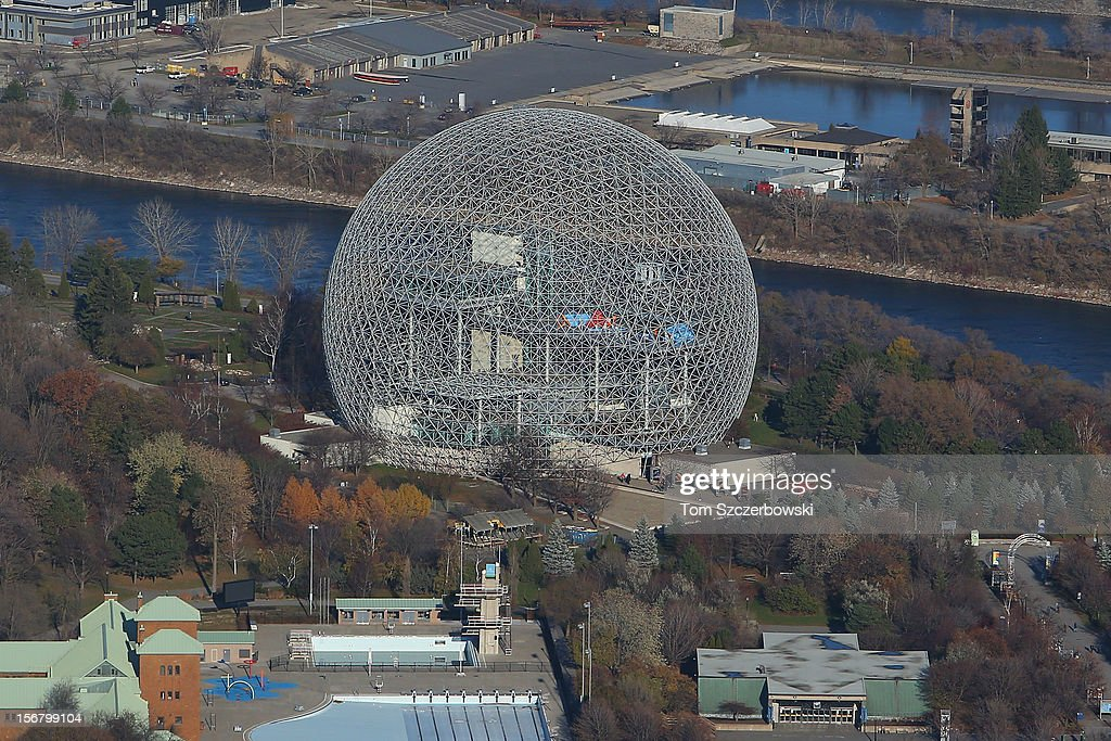 An aerial view of Biosphere is seen from above on November 18, 2012 in Montreal, Quebec.