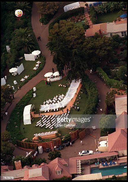An aerial view of Brad Pitt and Jennifer Aniston's wedding venue July 29 2000 in Malibu CA