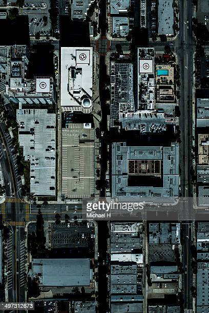 An aerial view of building in LA