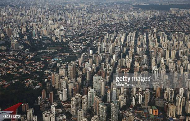 An aerial view of buildings standing on July 15 2015 in Sao Paulo Brazil The city is South America's largest and holds approximately 20 million...
