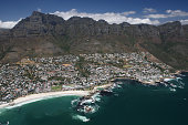 An aerial view of Camps Bay and Clifton Beaches on February 6 2009 in Cape Town South Africa