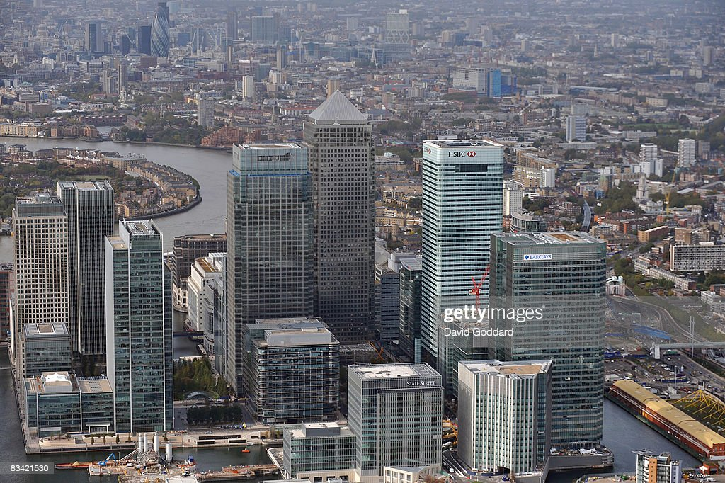 An aerial view of Canary Wharf and surrounding financial buildings in the city is seen on October 24, 2008 in London, England. As markets across the globe continue to struggle the world wide credit crunch begins to bite deeper with fears of economic recession.