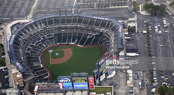 An aerial view of Citi Field baseball stadium as seen from a passenger plane landing at nearby LaGuardia Airport in the New York City borough of...