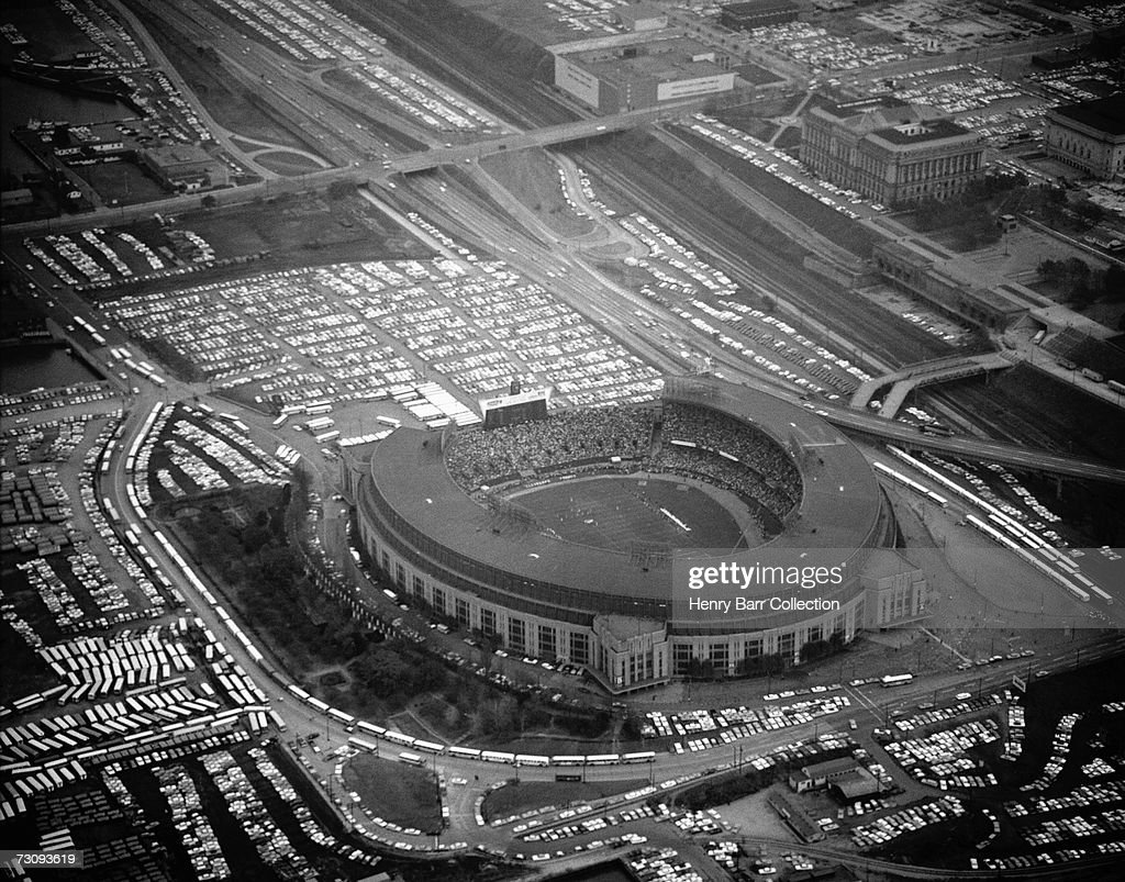 An aerial view of Cleveland Municipal Stadium home of the Cleveland Browns during a game on October 27 1963 between the New York Giants and the...