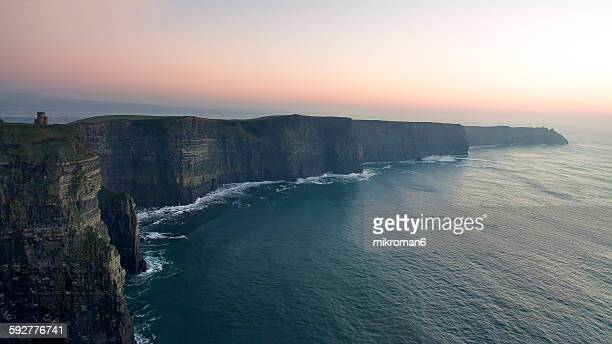An aerial view of Cliffs of moher o'brien's castle