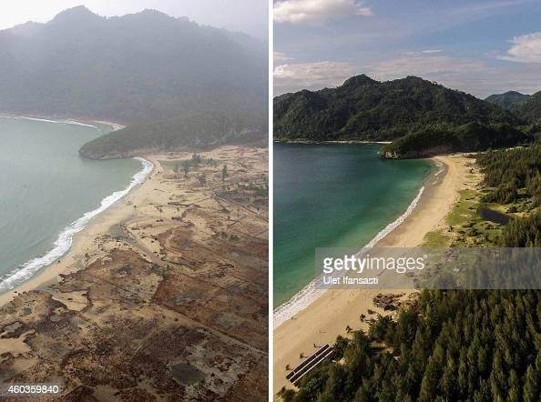 In this composite image a comparison has been made between a scene in 2004 and 2014 IMAGEBANDA ACEH INDONESIA DECEMBER 11 An aerial view of coastal...