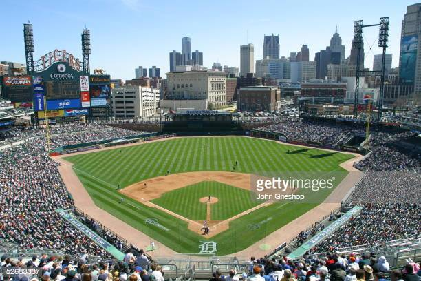 An aerial view of Comerica Park is pictured during the game between the Cleveland Indians and the Detroit Tigers on April 9 2005 in Detroit Michigan...
