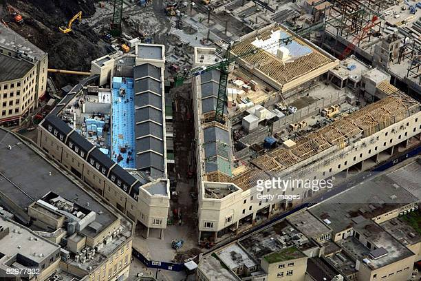 An aerial view of construction underway at the 360million GBP SouthGate shopping centre currently under development in Bath on September 18 2008 in...