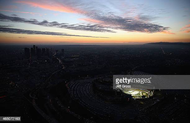 An aerial view of Dodger Stadium prior to the start of the 2014 Coors Light NHL Stadium Series game between the Anaheim Ducks and the Los Angeles...