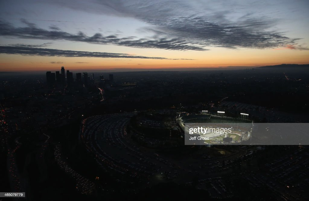 An aerial view of Dodger Stadium prior to the start of the 2014 Coors Light NHL Stadium Series game between the Anaheim Ducks and the Los Angeles Kings on January 25, 2014 in Los Angeles, California.