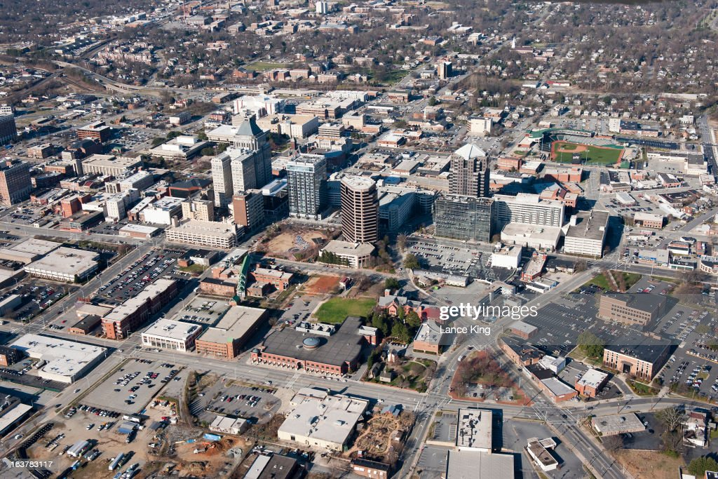 An aerial view of downtown Greensboro ahead of the first round of the 2013 Men's ACC Tournament on March 14, 2013 in Greensboro, North Carolina.