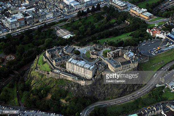An Aerial view of Edinburgh Castle in the city of Edinburgh on September 21 in Edinburgh Scotland