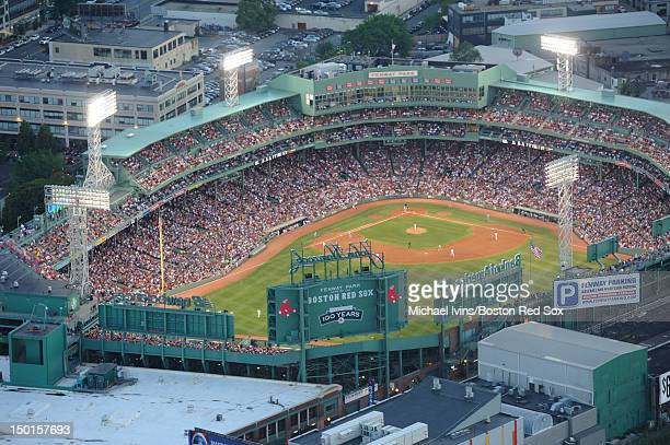 An aerial view of Fenway Park as the Boston Red Sox play the Detroit Tigers on July 30 2012 in Boston Massachusetts