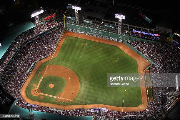 An aerial view of Fenway Park as the Boston Red Sox play the Kansas City Royals