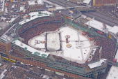 An aerial view of Fenway Park during the game between the Philadelphia Flyers and the Boston Bruins during the 2010 Bridgestone Winter Classic at...