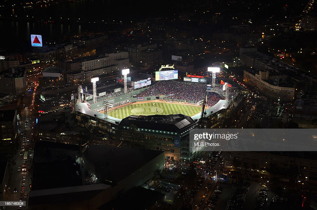 An aerial view of Fenway Park prior to Game 1 of the 2013 World Series between the St. Louis Cardinals and the Boston Red Sox on Wednesday, October 23, 2013 at Fenway Park in Boston, Massachusetts.