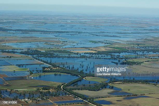 An aerial view of flood water inundating the Wimmera and Southern Mallee region on January 19 2011 in Victoria Australia Evacuations have been...
