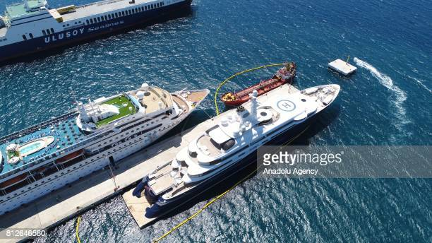 An aerial view of Former Prime Minister of Qatar Hamad bin Jassim bin Jaber Al Thani's superyatch named 'Al Mirqab' as it ancored for a refuel in...