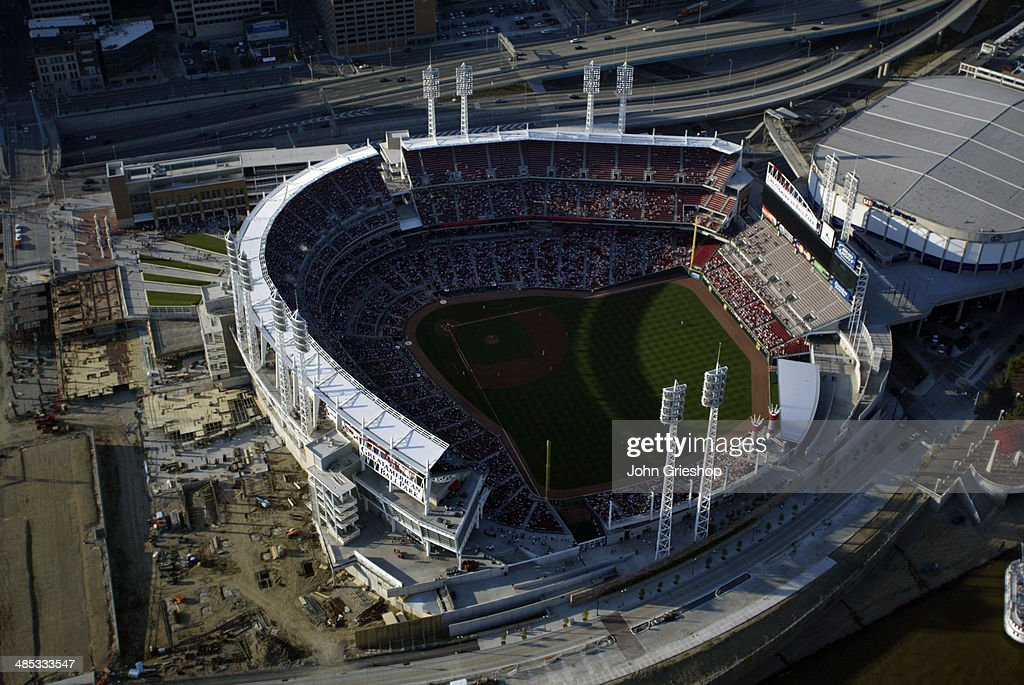 An aerial view of Great American Ball Park during the game between the Houston Astros and the Cincinnati Reds on Thursday, July 17, 2003 in Cincinnati, OH.