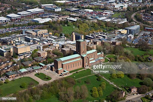 An aerial view of Guildford Cathedral