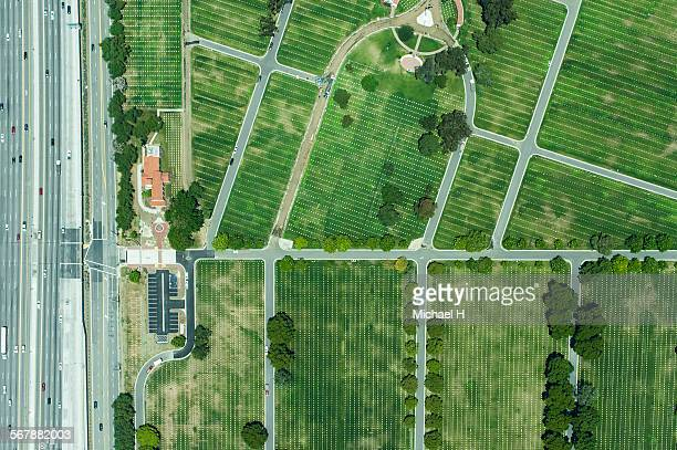 An aerial view of highway and farm