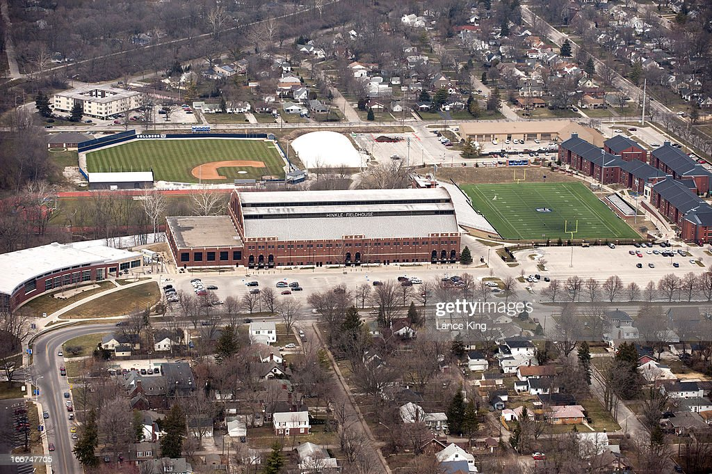 An aerial view of Hinkle Fieldhouse and the Butler Bowl on campus of Butler University during the Midwest Regional round of the 2013 NCAA Men's Basketball Tournament on March 30, 2013 in Indianapolis, Indiana.