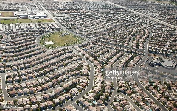 An aerial view of homes on November 6 2008 in Henderson Nevada As bad loans drove homeowners originally into foreclosure earlier this year rising...