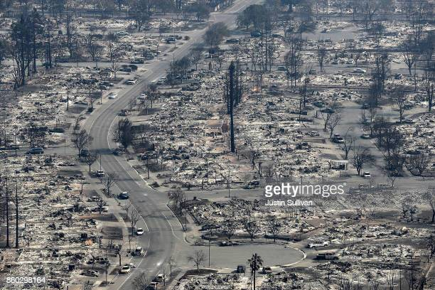 An aerial view of homes that were destroyed by the Tubbs Fire on October 11 2017 in Santa Rosa California Twenty one people have died in wildfires...