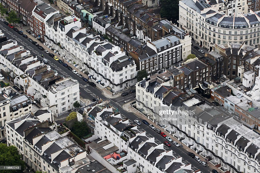 An Aerial view of houses in Knightsbridge on July 26, 2011 in London, England. London will host the 2012 Olympic Games.