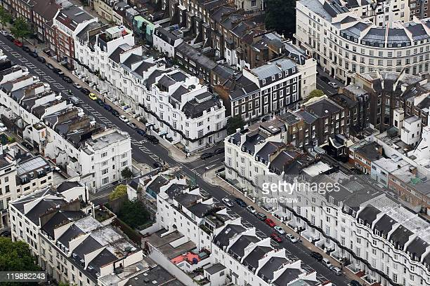 An Aerial view of houses in Knightsbridge on July 26 2011 in London England London will host the 2012 Olympic Games