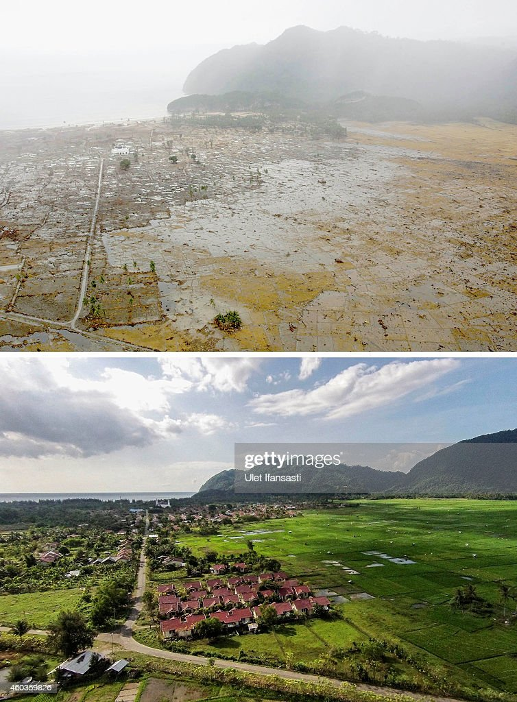 In this composite image a comparison has been made between a scene in 2004 and 2014 IMAGEBANDA ACEH INDONESIA DECEMBER 11 An aerial view of houses in...