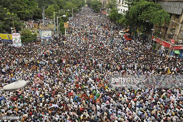 KOLKATA INDIA JULY 21 An aerial view of huge crowd of TMC supporters taking part in the Martyrs' Day rally addressed by West Bengal Chief Minister...