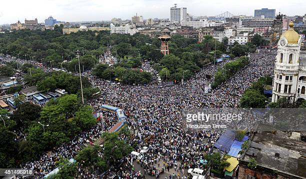 An aerial view of huge crowd of TMC supporters taking part in the Martyrs' Day rally addressed by West Bengal Chief Minister Mamata Banerjee at...