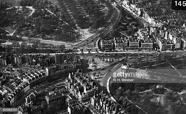 An aerial view of Hyde Park Corner Grosvenor Place and Park Lane 1930s